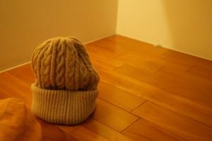 ざっくり編みのニット帽
