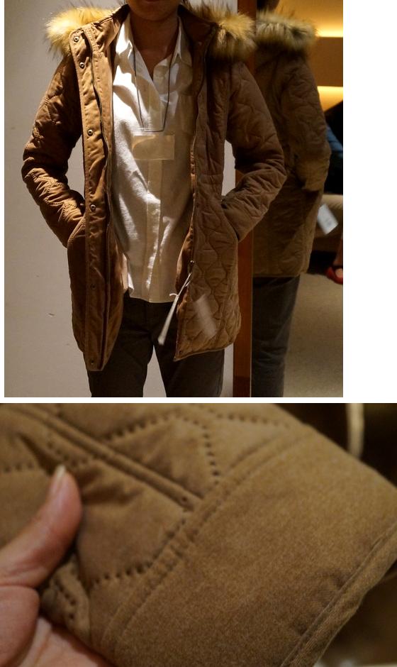 ファー付きキルティングコート