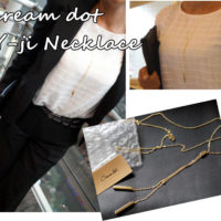 cream dot Y-ji Necklace
